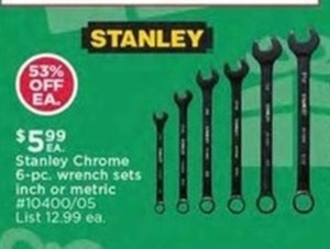 Stanley Chrome 6-pc. Wrench Sets (Inch or Metric)