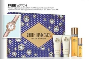 Free Watch w/ Any Large Spray Purchase from the White Diamonds Elizabeth Taylor Fragrance Collection