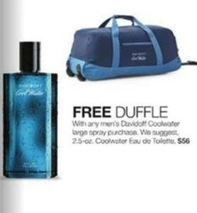 Free Duffle w/ Any Men's Davidoff Coolwater Large Spray Purchase