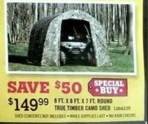 True Timber Camo Shed 8x8x7' Round