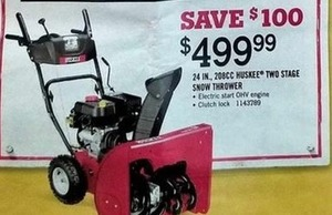 "24"" 208cc Huskee Two Stage Snow Thrower"