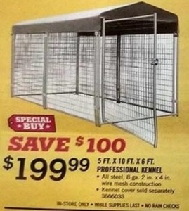 5ft. x 10ft. x 6ft. Professional Kennel