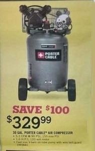30 gal. Porter Cable Air Compressor