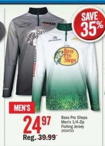 Bass Pro Shops Men's 1/4 Zip Fishing Jersey