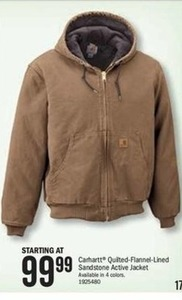 Carhartt Quilted-Flannel-Lined Sandstone Active Jacket