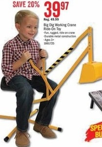 Big Dig Workig Crane Ride-On Toy