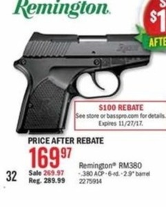 Remington RM380 Handgun After Rebate
