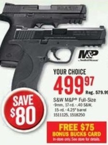 S&W M&P Full Size + $75 Bonus Bucks Card