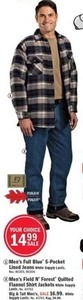 Men's Full Blue Lined Jeans or Field N' Forest Quilted Flannel Shirt