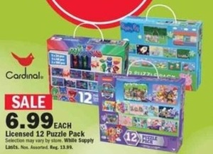 Cardinal Licensed 12 Puzzle Pack