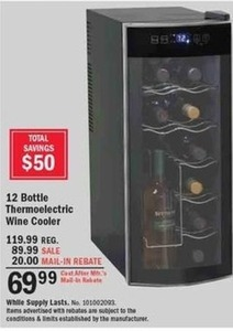 12 Bottle Thermoelctric Wine Cooler After Rebate