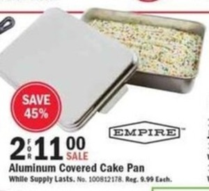 Empire Aluminum Covered Cake Pan