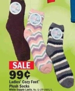Ladies' Cozy Feet Plush Socks