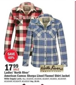North River Women's Sherpa-Lined Flannel Skirt Jacket