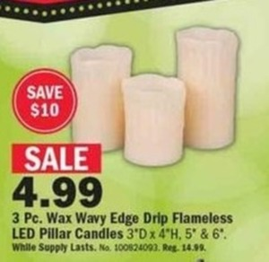 3 pc Wavy Edge Drip Flamless LED Pillar Candles