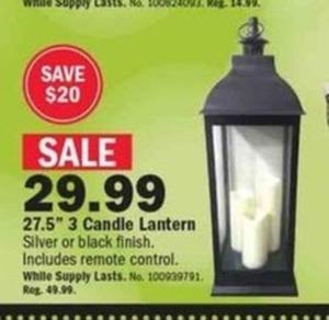 "27.5"" 3 Candle Lantern"