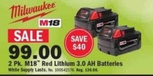 2-pk. M18 Red Lithium 3.0 AH Batteries