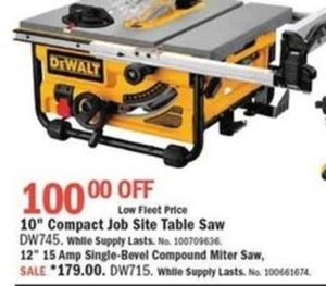 "DeWalt 10"" Compact Job Site Table Saw"
