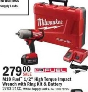 M18 Fuel High Torque Impact Wrench w/ Ring Kit and Battery