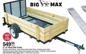 Big Max 4'x8' Wood Side Trailer