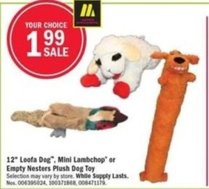"12"" Loofa Dog, Mini Lambchop or Empty Nesters Plush Dog Toy"