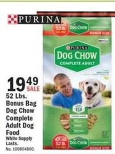 52 Lbs. Bonus Bag Dog Chow Complete Adult Dog Food