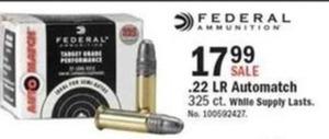 Federal Ammunition .22 LR Automatch, 325 ct.