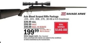 Savage Arms Axis Blued Scoped Riffle Package After Rebate