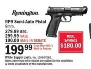 Remington RP9 Semi-Auto Pistol After Rebate