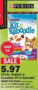 16 lbs. Original or Essentials Kit & Kaboodle Adult Cat Food