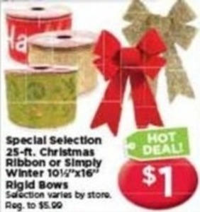 25 ft. Christmas Ribbon or Simply Winter Rigid Bows