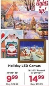 "Holiday LED Canvas 16x20"" Framed or 20x24"""