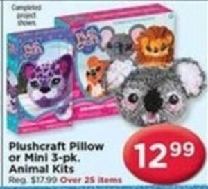 Plushcraft Pillow or Mini 3 pk. Animal Kits