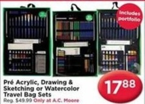 Pre Acrylic, Drawing and Sketching or Watercolor Travel Bag Sets