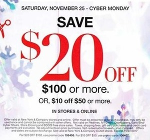 $20 Off $100+ Order or $10 Off $50+ Order, Nov. 25