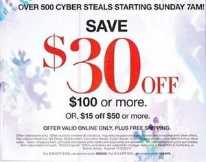 $30 Off $100+ Order | $15 Off $50+ Order, Nov 26 - 27