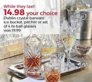 Dublin Crystal Barware Set of 4 Hi-Ball Glasses