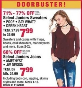 Select Juniors Sweaters and Jeans