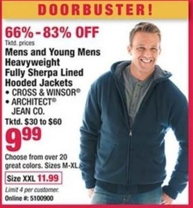 Mens and Young Mens Heavyweight Fully Sherpa Lined Hooded Jackets