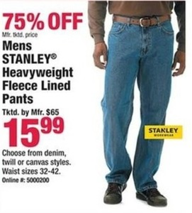 Mens Stanley Heavyweight Fleece Lined Pants