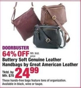 Buttery Soft Genuine Leather Handbags by Great American Leather