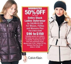 Entire Stock Ladies Outerwear by Calvin Klein