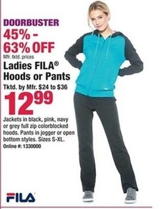 Ladies FILA Hoods & Pants