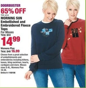 Morning Sun Embellished & Embroidered Fleece Tops