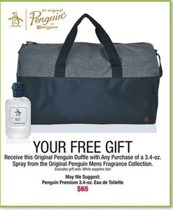 Free Penguin Duffle w/ Any purchase of a 3.4oz spray