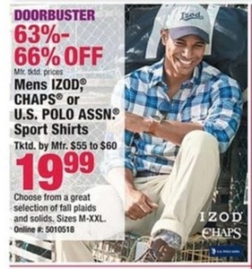 Mens Izod, Chaps or U.S. Polo Assn. Sport Shirts