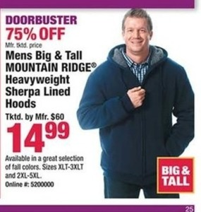 Mens Big and Tall Mountain Ridge Heavyweight Sherpa Lined Hoods