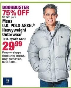 Mens US Polo Assn Heavyweight Outerwear