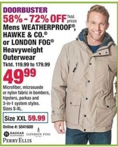 Mens Weatherproof, Hawke and Co. or London Fog Heavyweight Outerwear