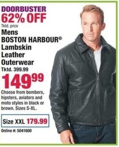 Mens Boston Harbour Lambskin Leather Outerwear
